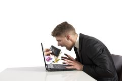 Theft on the internet. Concept of theft on the internet stock image
