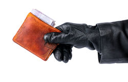 Theft old wallet Royalty Free Stock Photo