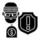 Theft - thievery - Insurance against theft icon, vector illustration, black sign on isolated background Stock Image