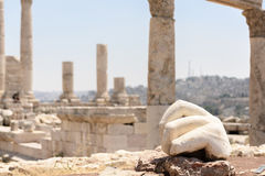 Thehan of a statue in the temple of Hercules in Amman Royalty Free Stock Photo