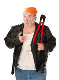 Theif with big red bolt cutter tool. Fat thief with big red bolt cutter tool Royalty Free Stock Photos