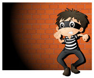 Theif. Illustration of a  thief in spotlight Stock Image