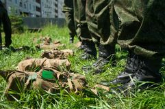 Military camp. Formation of soldiers royalty free stock image