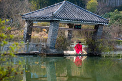 Their reflections on the water-Oblique Pavilion Stock Images