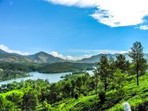 Beautiful landscape with wild forest and Periyar River, Kerala, India. THEKKADI, KERALA, INDIA - DEC. 15 2011: Beautiful landscape with colorful wild forest and Royalty Free Stock Photo