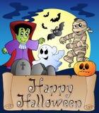 Thema met Gelukkige banner 4 van Halloween Stock Fotografie