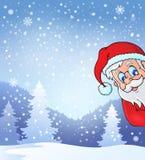 Thema mit lauernder Santa Claus Stockbild