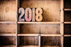 2018 Thema van het Concepten het Houten Letterzetsel Royalty-vrije Stock Foto