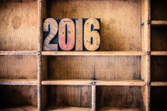 2016 Thema van het Concepten het Houten Letterzetsel Royalty-vrije Stock Foto's