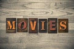 Thema van het films het Houten Letterzetsel Stock Foto's