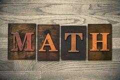 Thema van het wiskunde het Houten Letterzetsel Stock Foto