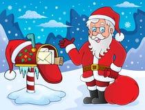 Thema 1 van Santa Claus en van de brievenbus vector illustratie