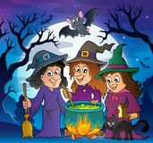 Themabild 3 mit drei Hexen stock abbildung