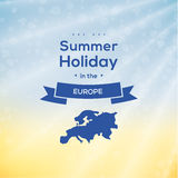Thematic background - summer holiday template. Typographic emble Stock Photography