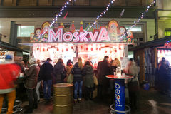 Thematic food stand in Zagreb Royalty Free Stock Photos