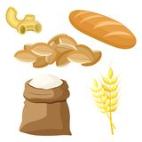Thematic set of food products from wheat and flour. Royalty Free Stock Image