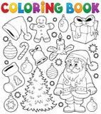 Thematics 4 för jul för färgläggningbok Arkivfoto