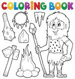 Thematics pré-histórico 1 do livro para colorir ilustração do vetor