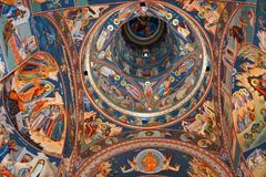 Thematische orthodoxe Ikonen Heilig-Anna--Rohiakloster, aufgestellt in einem natürlichen und lokalisierten Platz, in Maramures, S Lizenzfreie Stockfotografie
