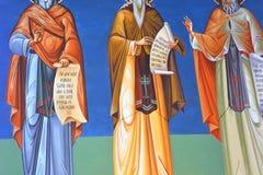 Thematische orthodoxe Ikonen Heilig-Anna--Rohiakloster, aufgestellt in einem natürlichen und lokalisierten Platz, in Maramures, S Lizenzfreie Stockfotos