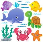 Thematische Sammlung 1 der Ozeanfauna Lizenzfreie Stockbilder