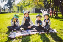 Theme active family holidays nature. group people small little children three brothers and sister sit onblanket near stock photos