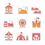 Theme amusement park sings set. Thin line art icons. Flat style illustrations isolated on white royalty free illustration