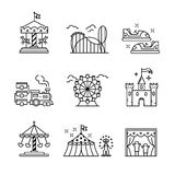 Theme amusement park sings set. Thin line art icons. Linear style illustrations isolated on white Stock Photography