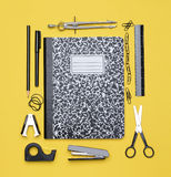 Theme Book With School Supplies Stock Photo