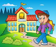 Theme with boy and school building Royalty Free Stock Image