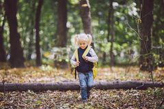 The theme children outdoor activities. Funny little baby Caucasian blond girl walks through forest overcoming obstacles, tree fell stock photo