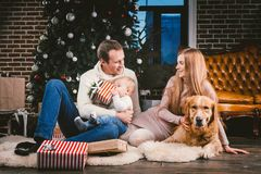 Theme Christmas and New Year family circle and domestic pet. Mom dad and child 1 year old Caucasian woman sitting on royalty free stock photos
