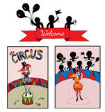 Theme circus with a girl on the stage and audience Royalty Free Stock Photography