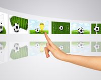 Theme of football wins. Virtual screens Stock Images