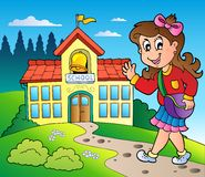 Theme with girl and school building Stock Photography