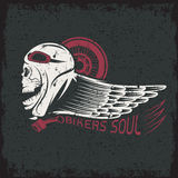 theme grunge label with skull,wheel and wing Stock Image