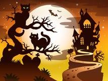 Theme with Halloween silhouette 1 Stock Photos
