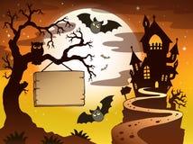 Theme with Halloween silhouette 3 Stock Photos