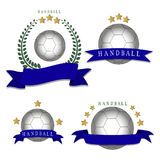 The theme handball. Abstract vector illustration logo handball, flying ball emblem, sporting background Stock Images