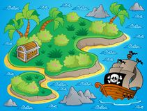 Theme with island and treasure 1 Royalty Free Stock Images