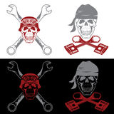 theme labels with skull ,wrenches and pistons Royalty Free Stock Image