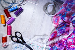 The theme of needlework , sewing, dressmaking, sewing machine Royalty Free Stock Image