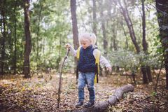 Theme outdoor activities in nature. Funny little Caucasian blonde girl walks walks hiking in the forest on rough terrain with a royalty free stock photography