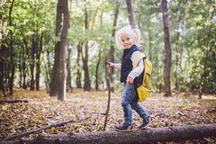 Theme outdoor activities in nature. Funny little Caucasian blonde girl walks walks hiking in the forest on rough terrain with a royalty free stock images