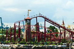 Theme park. Roller coaster in the theme park Stock Images