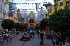Theme Park avenue vibrant by night stock photography