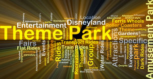 Theme park background concept glowing. Background concept wordcloud illustration of theme park glowing light Stock Photo