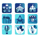Theme park icons. A vector illustration of theme park icons stock illustration