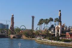 Theme park Island of Adventure in Orlando, Florida. In this picture you will see the tower, the ride Dr. Doom, and the Hulk`s rollercoaster among other stock images