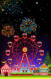 Theme park at night with firework. Illustration Stock Photos